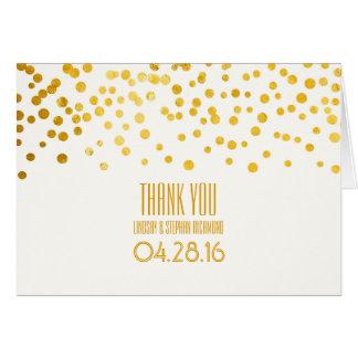 Gold Foil Confetti Wedding Thank You Card