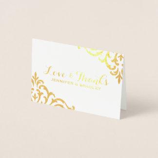 Gold Foil Damask Elegant Wedding Thank You Foil Card