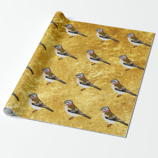Gold foil design cartoon yellow and brown sparrow wrapping paper