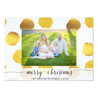 Gold foil dots Christmas Card