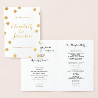 Gold Foil Dots Modern Elegant Wedding Program Foil Card