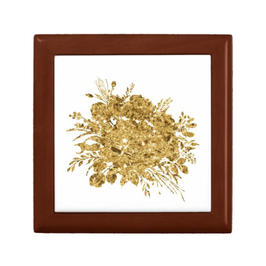 Gold Foil Effect Bouquet of Flowers Gift Box