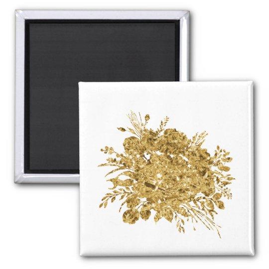 Gold Foil Effect Bouquet of Flowers Magnet