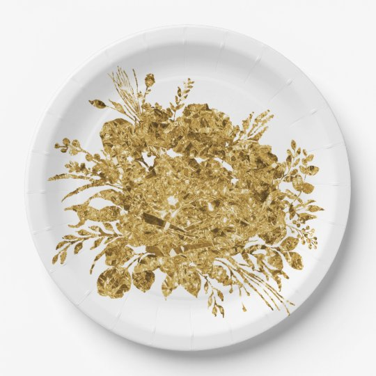 Gold Foil Effect Bouquet of Flowers Paper Plate