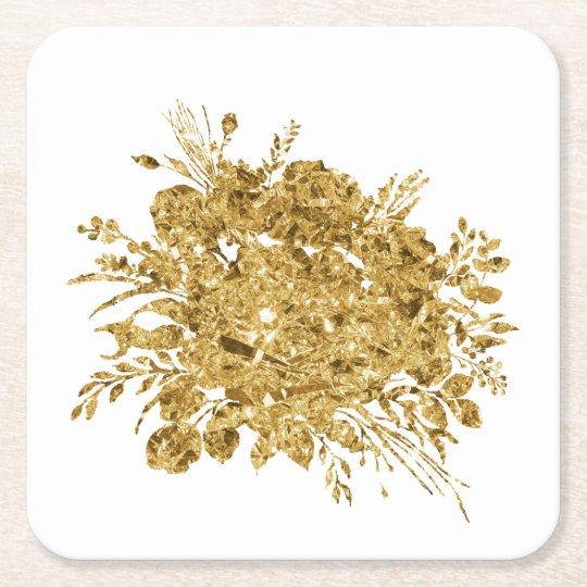 Gold Foil Effect Bouquet of Flowers Square Paper Coaster