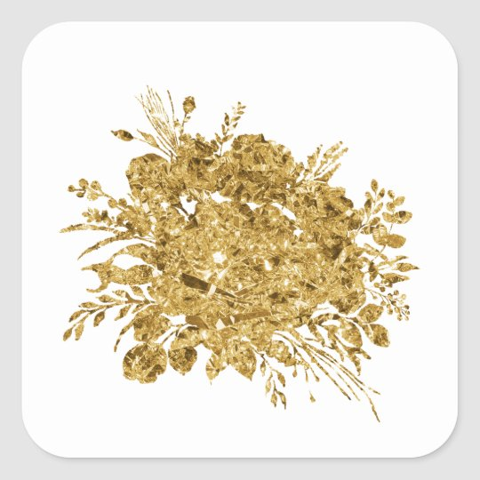 Gold Foil Effect Bouquet of Flowers Square Sticker