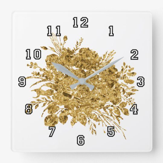 Gold Foil Effect Bouquet of Flowers Square Wall Clock