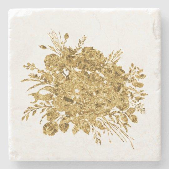 Gold Foil Effect Bouquet of Flowers Stone Coaster