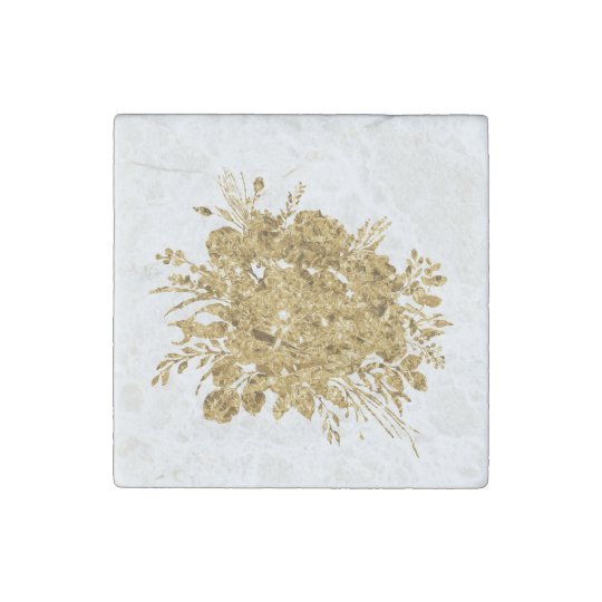 Gold Foil Effect Bouquet of Flowers Stone Magnets