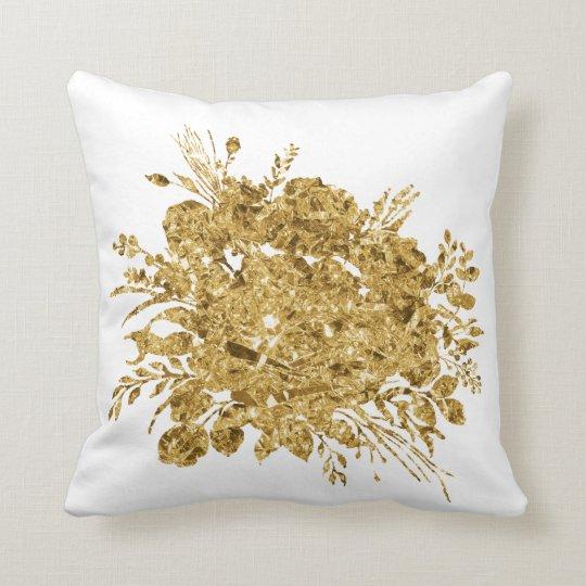 Gold Foil Effect Bouquet of Flowers Throw Pillow