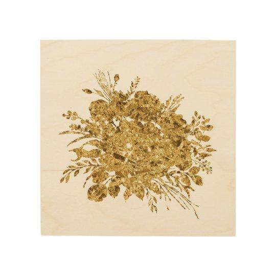 Gold Foil Effect Bouquet of Flowers Wood Wall Art