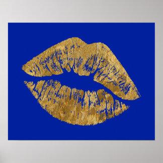 Gold Foil Effect Kiss Poster