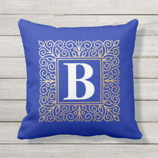 Gold Foil Effect Monogram Throw Pillow