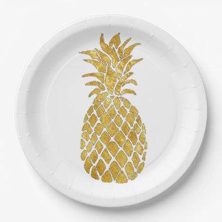 gold foil effect pineapple design paper plate