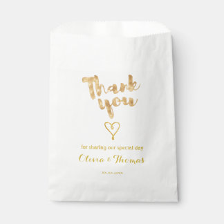 gold foil effect thank you calligraphy favour bag