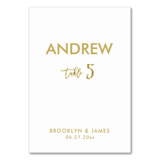 Gold Foil Effect Wedding Table Cards Table 5