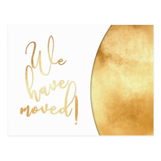 "Gold Foil Effect, ""We've Moved"" Announcements Postcard"