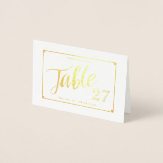 Gold Foil Elegant Table Number Tent Card