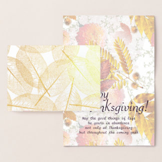 Gold Foil Fall Leaves & Thanksgiving Blessing #2 Foil Card