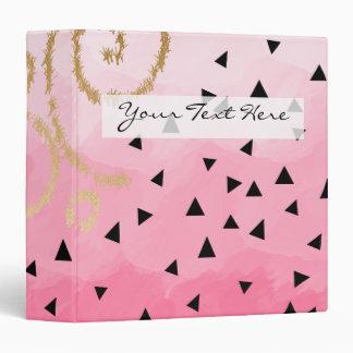 gold foil geometric pattern rose pink brushstrokes 3 ring binder