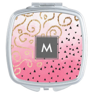 gold foil geometric pattern rose pink brushstrokes makeup mirrors