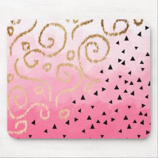 gold foil geometric pattern rose pink brushstrokes mouse pad