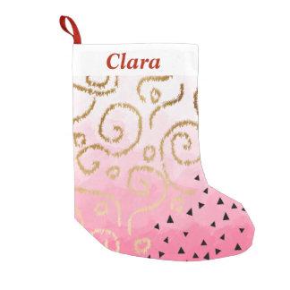gold foil geometric pattern rose pink brushstrokes small christmas stocking