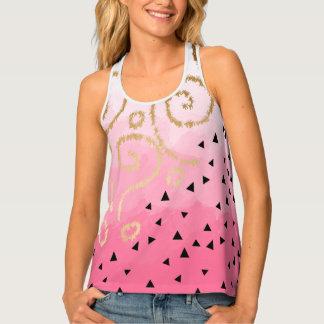 gold foil geometric pattern rose pink brushstrokes tank top