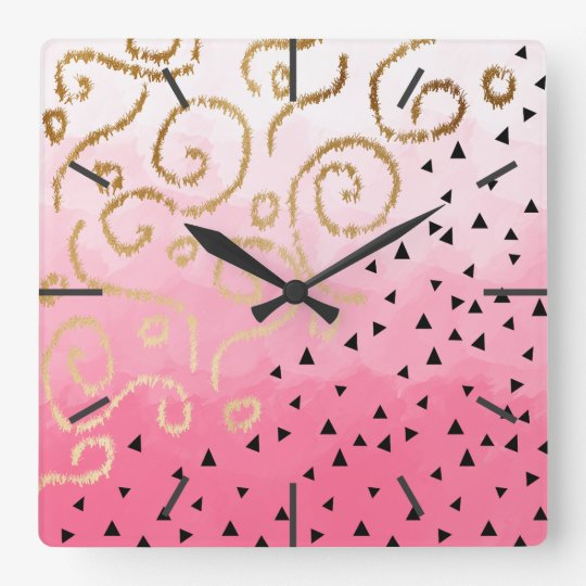 gold foil geometric pattern rose pink brushstrokes wall clocks