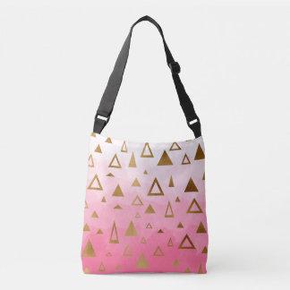 gold foil geometric triangles pink brushstrokes crossbody bag