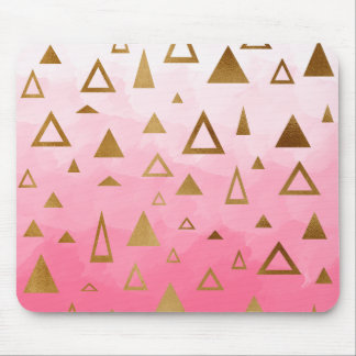 gold foil geometric triangles pink brushstrokes mouse pad