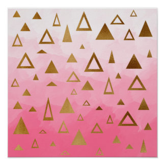gold foil geometric triangles pink brushstrokes poster