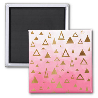gold foil geometric triangles pink brushstrokes square magnet
