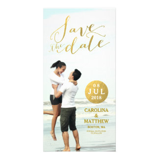 Gold Foil Glamor   Photo Save the Date Photo Card