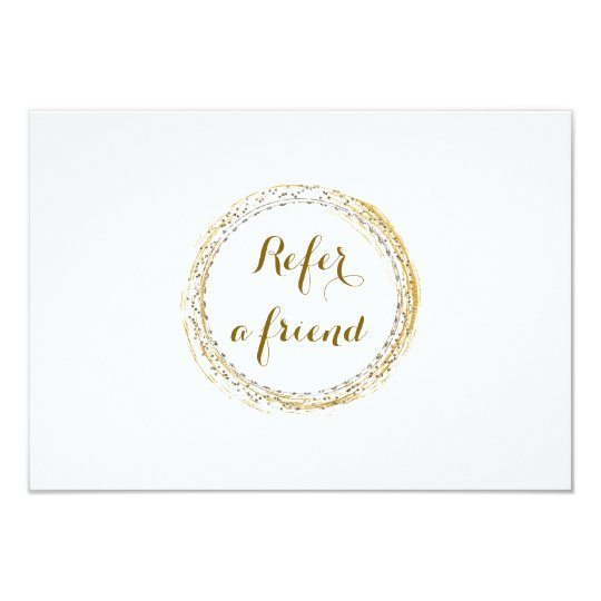 Gold Foil Glamour Circle White Referral Card