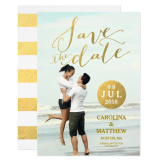 Gold Foil Glamour | Photo Save the Date Card