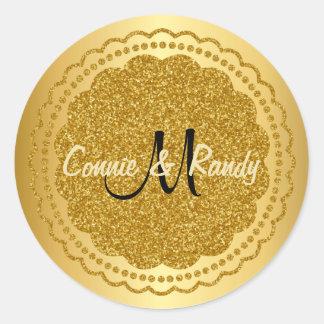 Gold Foil Glitter Monogram Wedding Sticker