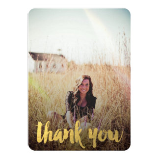 "GOLD FOIL GRADUATION PHOTO THANK YOU CARD 4.5"" X 6.25"" INVITATION CARD"