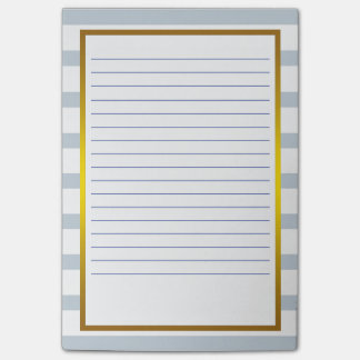 Gold Foil Gray  Stripe white Lined Business Lines Post-it Notes