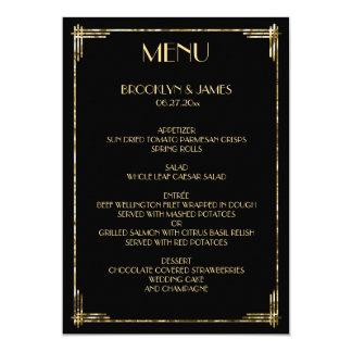 "Gold Foil Great Gatsby Art Deco Wedding Menu 5"" X 7"" Invitation Card"