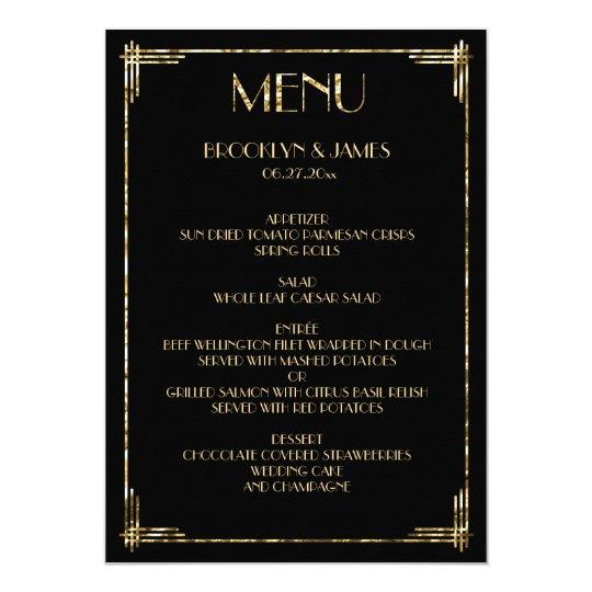 Gold Foil Great Gatsby Art Deco Wedding Menu Black Card