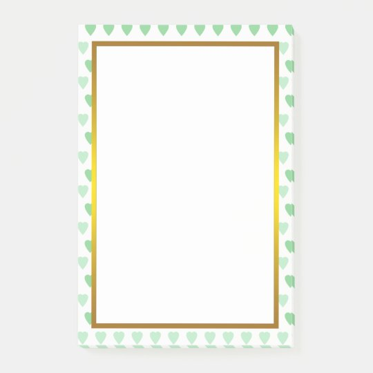 Gold Foil Green Love Heart Pattern Post-it Notes
