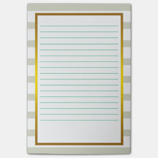 Gold Foil Green Stripe  Lined Business Lines Post-it Notes