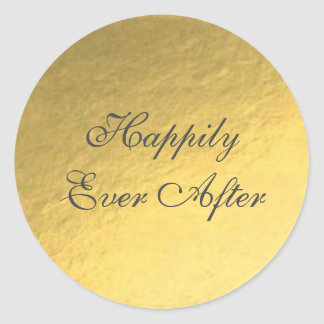 Gold Foil Happily Ever After Wedding Sticker