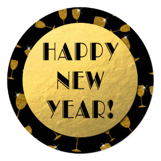 "Gold Foil Happy New Year! Round Card 5.25"" Square Invitation Card"