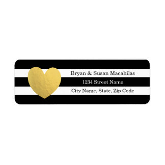 Gold Foil Heart Black Stripe Wedding Address Label