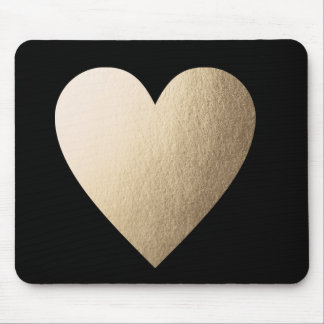 Gold Foil Heart Mouse Pad