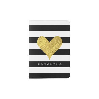 Gold Foil Heart Passport Holder