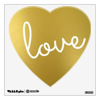 gold foil heart wall sticker
