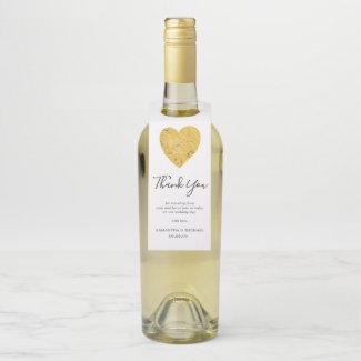 Gold Foil Heart Wedding Favour Thank You Bottle Tag